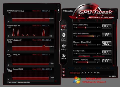ภาพหน้าจอ ASUS GPU Tweak สำหรับ Windows 7