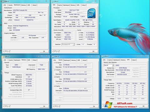 ภาพหน้าจอ CPU-Z สำหรับ Windows 7