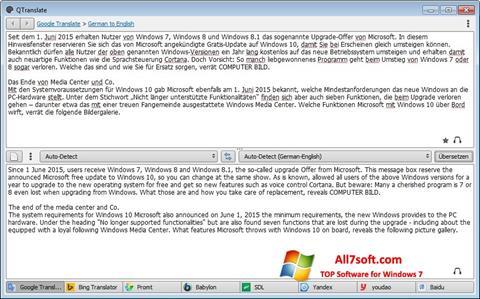 ภาพหน้าจอ QTranslate สำหรับ Windows 7