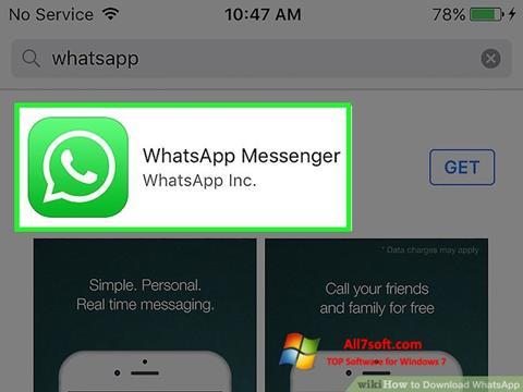 ภาพหน้าจอ WhatsApp สำหรับ Windows 7