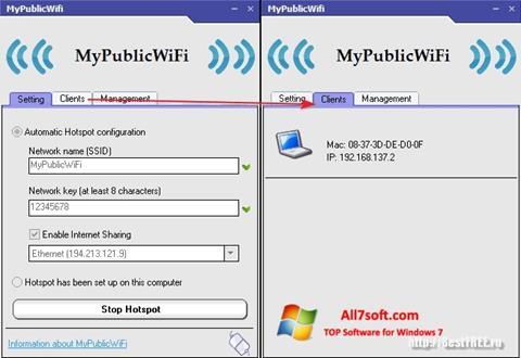 ภาพหน้าจอ MyPublicWiFi สำหรับ Windows 7