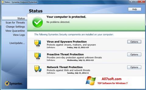 ภาพหน้าจอ Symantec Endpoint Protection สำหรับ Windows 7