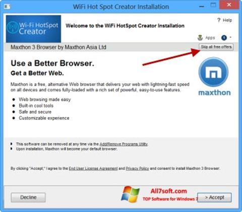 ภาพหน้าจอ Wi-Fi HotSpot Creator สำหรับ Windows 7