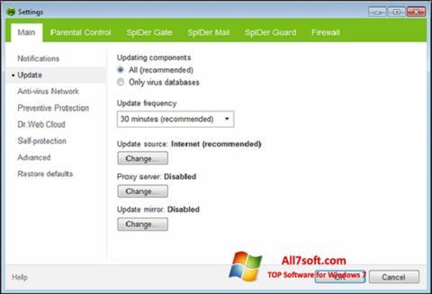 ภาพหน้าจอ Dr.Web Security Space สำหรับ Windows 7