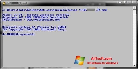 ภาพหน้าจอ PsExec สำหรับ Windows 7