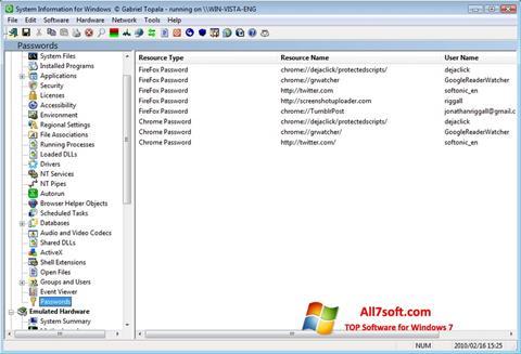 ภาพหน้าจอ SIW สำหรับ Windows 7