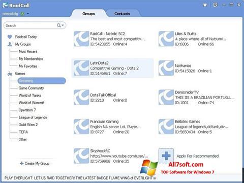ภาพหน้าจอ RaidCall สำหรับ Windows 7