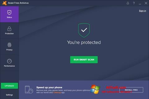 ภาพหน้าจอ Avast Free Antivirus สำหรับ Windows 7