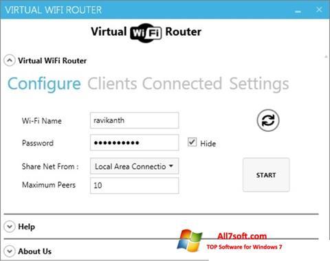 ภาพหน้าจอ Virtual WiFi Router สำหรับ Windows 7