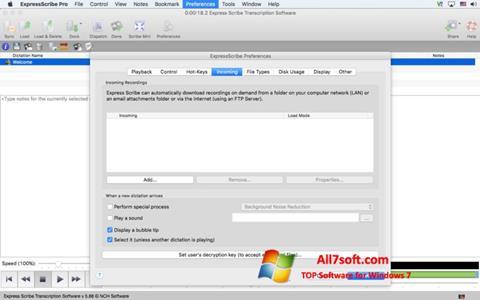 ภาพหน้าจอ Express Scribe สำหรับ Windows 7