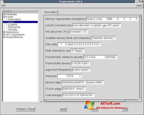 ภาพหน้าจอ PowerTweak สำหรับ Windows 7