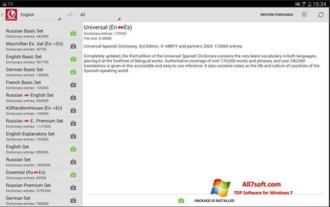 ภาพหน้าจอ ABBYY Lingvo สำหรับ Windows 7