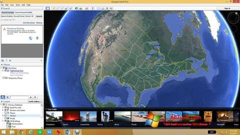 ภาพหน้าจอ Google Earth สำหรับ Windows 7