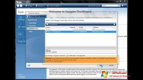 ภาพหน้าจอ Seagate DiscWizard สำหรับ Windows 7