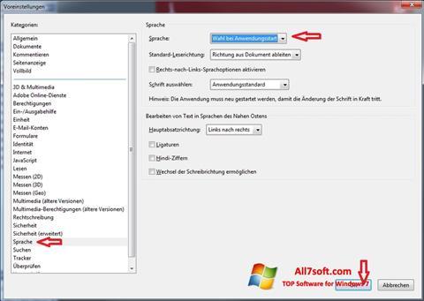 ภาพหน้าจอ Adobe Reader สำหรับ Windows 7