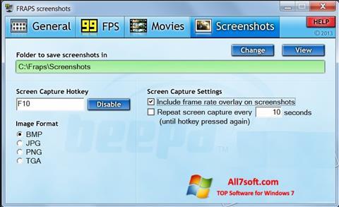 ภาพหน้าจอ Fraps สำหรับ Windows 7