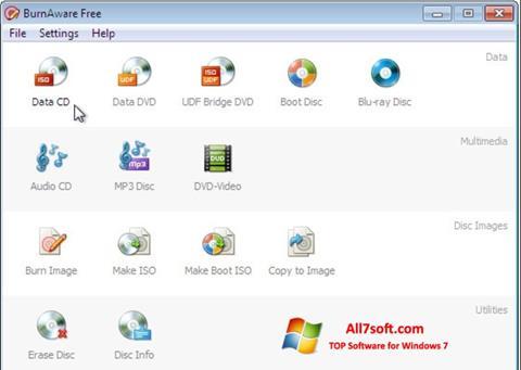 ภาพหน้าจอ BurnAware Free สำหรับ Windows 7