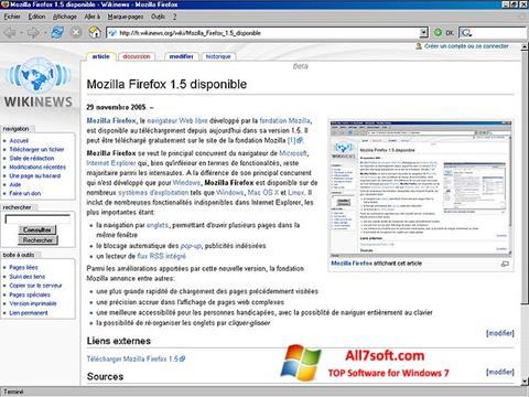 ภาพหน้าจอ Mozilla Firefox สำหรับ Windows 7