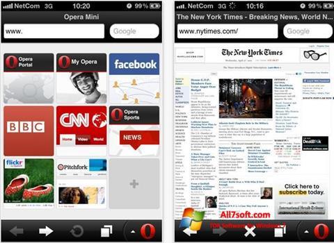 ภาพหน้าจอ Opera Mini สำหรับ Windows 7