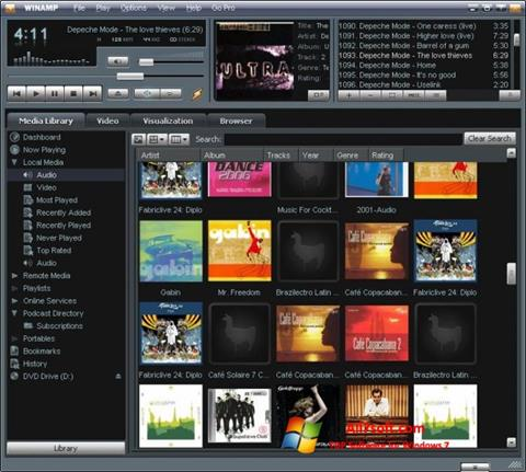 ภาพหน้าจอ Winamp สำหรับ Windows 7