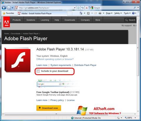 ภาพหน้าจอ Adobe Flash Player สำหรับ Windows 7