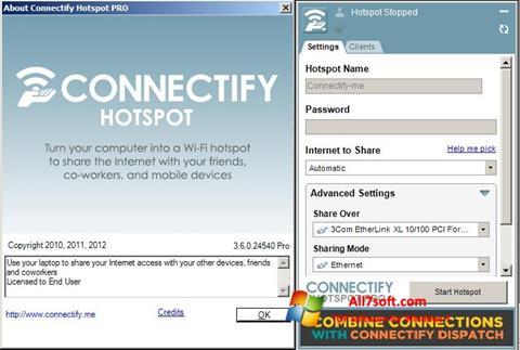 ภาพหน้าจอ Connectify Hotspot PRO สำหรับ Windows 7