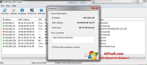 ภาพหน้าจอ SoftPerfect WiFi Guard สำหรับ Windows 7