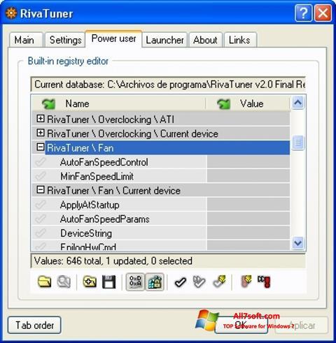 ภาพหน้าจอ RivaTuner สำหรับ Windows 7