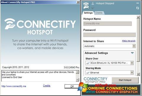 ภาพหน้าจอ Connectify สำหรับ Windows 7