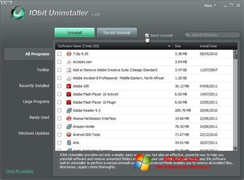 ภาพหน้าจอ IObit Uninstaller สำหรับ Windows 7