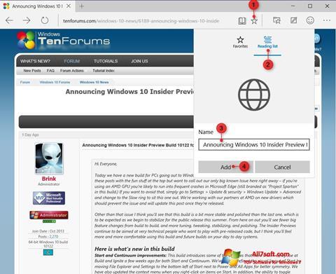 ภาพหน้าจอ Microsoft Edge สำหรับ Windows 7