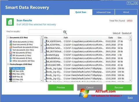 ภาพหน้าจอ Smart Data Recovery สำหรับ Windows 7