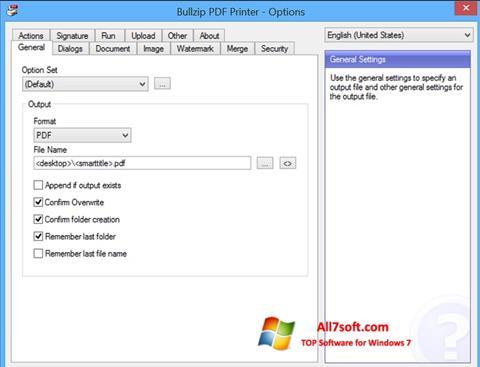 ภาพหน้าจอ BullZip PDF Printer สำหรับ Windows 7