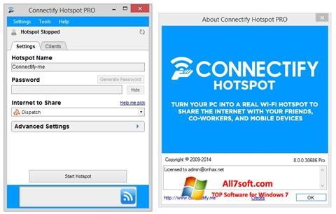 ภาพหน้าจอ Connectify Hotspot สำหรับ Windows 7