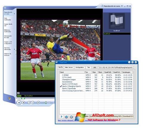 ภาพหน้าจอ SopCast สำหรับ Windows 7