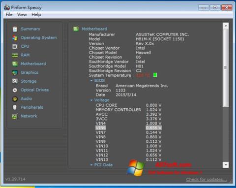 ภาพหน้าจอ Speccy สำหรับ Windows 7