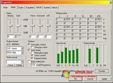 ภาพหน้าจอ AC3 Codec สำหรับ Windows 7