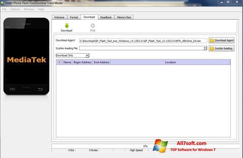 ภาพหน้าจอ FlashTool สำหรับ Windows 7