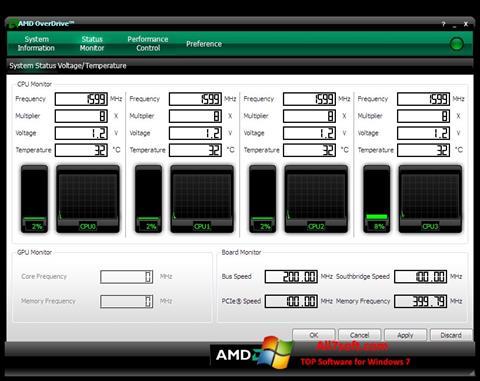 ภาพหน้าจอ AMD Overdrive สำหรับ Windows 7